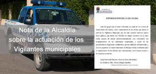 Nota de la alcaldía sobre las actuación de los vigilantes municipales