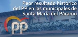 Peor resultado del PP en las municipales de Santa María del Páramo
