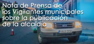 Nota de prensa de los Vigilantes Municipales sobre la información de la alcaldía