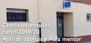 Charla informativa del Aula de Adultos y Aula Mentor para el curso 2019/20