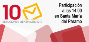 Elecciones 10N2019: participación a las 14:00 en Santa María del Páramo