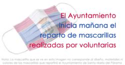 El Ayuntamiento inicia mañana el reparto de mascarillas realizadas por voluntarias