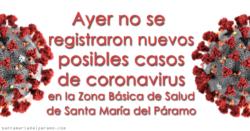Ayer no se registraron nuevos posibles casos de coronavirus en la Z.B.S. de Santa María del Páramo