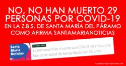 No, no han muerto 29 personas por Coronavirus en la Z.B.S. de Santa María del Páramo como afirma Santa María Noticias