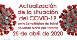 Actualización de la situación del COVID-19 en la Z.B.S. de Santa María del Páramo a 25.04.2020