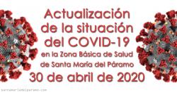 Actualización de la situación del COVID-19 en la Z.B.S. de Santa María del Páramo a 30.04.2020