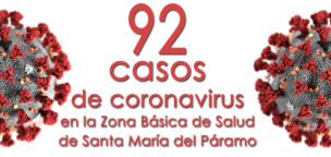 92 casos de coronavirus en la Zona Básica de Salud de Santa María del Páramo