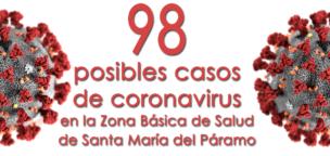 98 posibles casos de coronavirus en la Zona Básica de Salud de Santa María del Páramo
