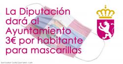 La Diputación dará al Ayuntamiento 3€ por habitante para mascarillas