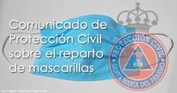 Comunicado de Protección Civil sobre el reparto de mascarillas