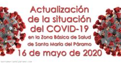 Actualización de la situación del COVID-19 en la Z.B.S. de Santa María del Páramo a 16.05.2020