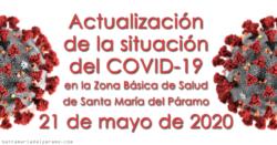 Actualización de la situación del COVID-19 en la Z.B.S. de Santa María del Páramo a 21.05.2020