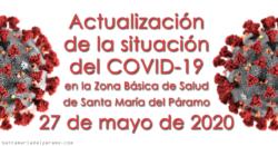 Actualización de la situación del COVID-19 en la Z.B.S. de Santa María del Páramo a 27.05.2020