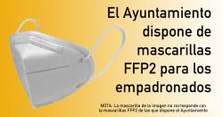 El Ayuntamiento dispone de mascarillas FFP2 para los empadronados (actualizada)