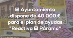 El Ayuntamiento dispone de 40.000 €para el plan de ayudas «Reactiva El Páramo»