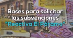 Bases para solicitar las subvenciones «Reactiva El Páramo»
