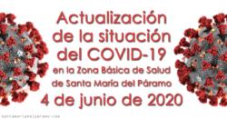 Actualización de la situación del COVID-19 en la Z.B.S. de Santa María del Páramo a 4.06.2020