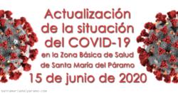 Actualización de la situación del COVID-19 en la Z.B.S. de Santa María del Páramo a 15.06.2020