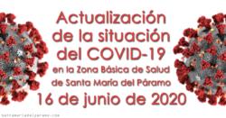 Actualización de la situación del COVID-19 en la Z.B.S. de Santa María del Páramo a 16.06.2020
