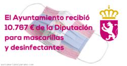 El Ayuntamiento recibió 10.767 € de la Diputación para mascarillas y desinfectantes