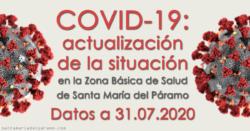 Actualización de la situación del COVID-19 en la Z.B.S. de Santa María del Páramo a 31.07.2020