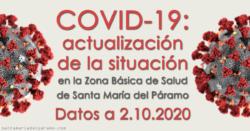 Actualización de la situación del COVID-19 en la Z.B.S. de Santa María del Páramo a 02.10.2020