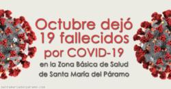 Octubre dejó 19 fallecidos por COVID-19 en la Z.B.S. de Santa María del Páramo