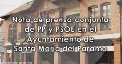 Nota de prensa conjunta de PP y PSOE en el Ayuntamiento de Santa María del Páramo