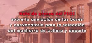 Nota de prensa del PSOE sobre la anulación de las bases y convocatoria para la selección del monitor de cultura y deporte