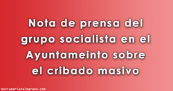 Nota de prensa del PSOE sobre el cribado masivo