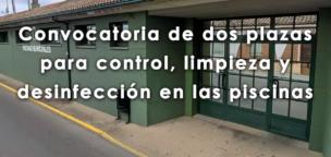 Convocatoria de dos plazas para control, limpieza y desinfección en las piscinas