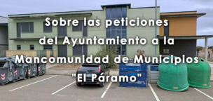 Sobre las peticiones del Ayuntamiento a la Mancomunidad de Municipios