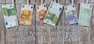 La renta bruta media de Santa María del Páramo en 2019 fue de 20.648€
