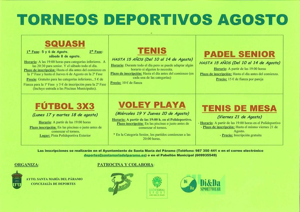 Torneos Deportivos Agosto 2015