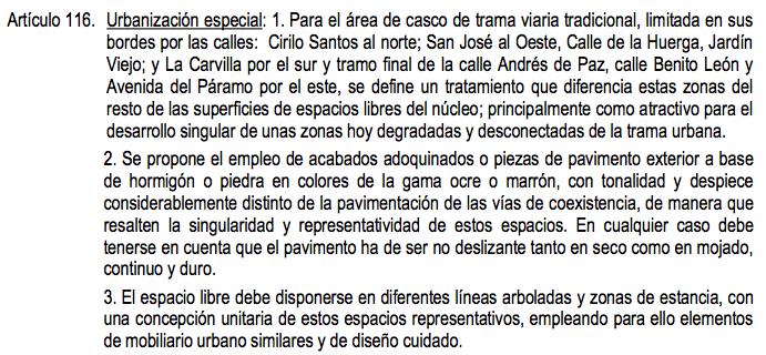 Artículo 116 de las normas Urbanísticas Municipales