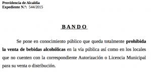 Bando sobre la venta de bebidas alcohólicas