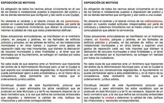 Comienzo de los textos de las Ordenanzas de Santa María del Páramo a la izquierda y Valladolid a la derecha