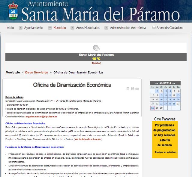 Información sobre la oficina en la web del Ayuntamiento