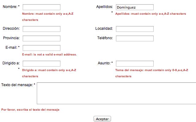 Formulario de contacto en la web del Ayuntamiento