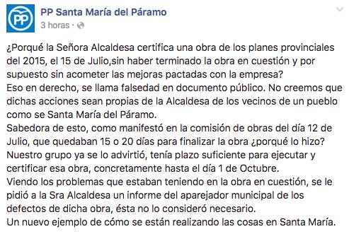 Nota del PP en su web en Facebook