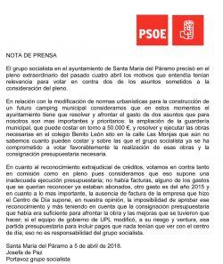 PSOE: nota de prensa sobre el camping