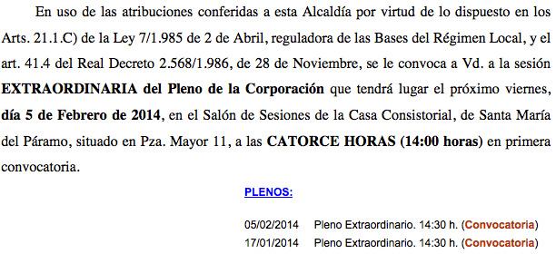 Información de la hora del pleno en el PDF y en la web municipal