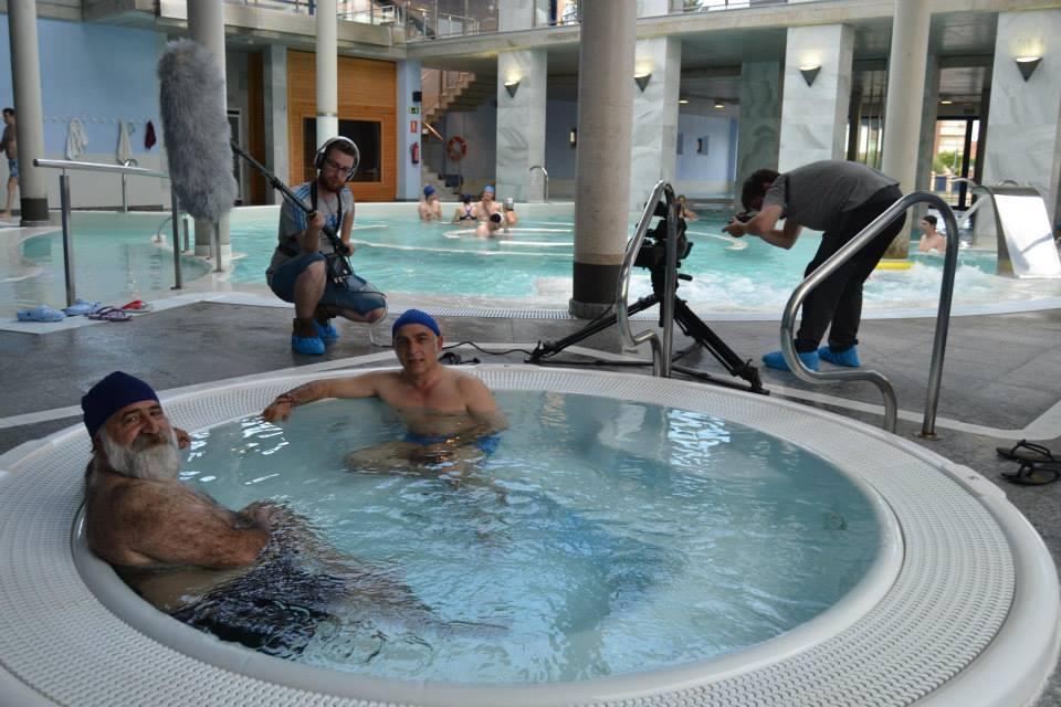 Javier Pérez Andrés y Miguel Angel del Ejido en un momento de la grabación. Fotografía publicada por JPA en su Facebook